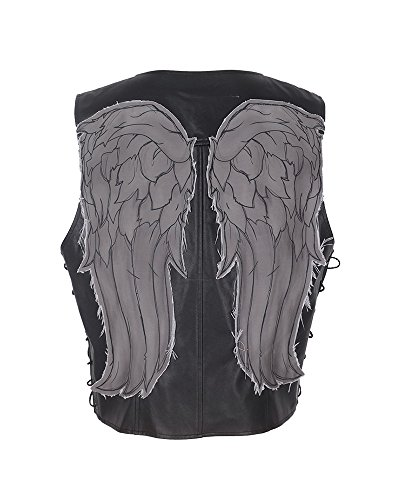 (Cosplay.fm Men's Daryl Dixon Faux Leather Angel Wings Vest Halloween Costume (Black))