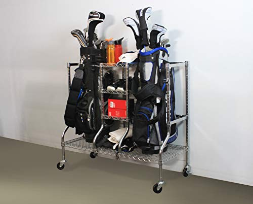 SafeRacks Golf Equipment Organizer Rack | Heavy-Duty Steel Wire Shelf Extra-Wide | Fits 2 Extra-Large Bags Plus Accessories (Golf Rack)