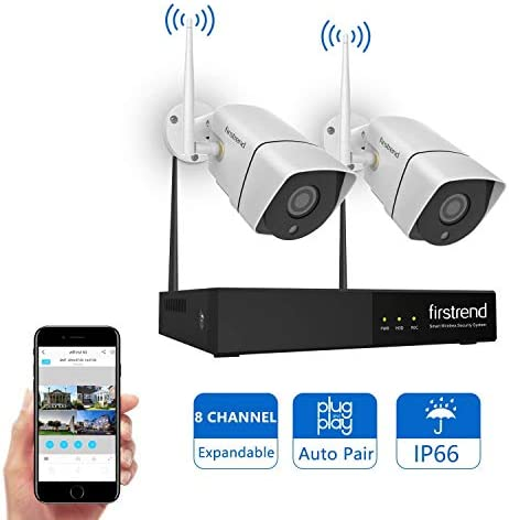 Newest Wireless Security Camera System, Firstrend 8CH Wireless NVR System with 2pcs 720P HD IP Security Camera with 65ft Night Vision and Easy Remote View,P2P CCTV Camera System No Hard Drive