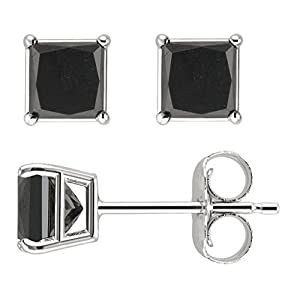 PARIKHS Princess cut Black Diamond Stud AAA Quality in White Gold (0.15ct)