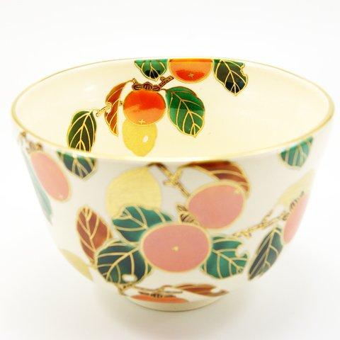 Matcha bowl overglaze enamels persimmon autumn by Minoru Park (Image #2)