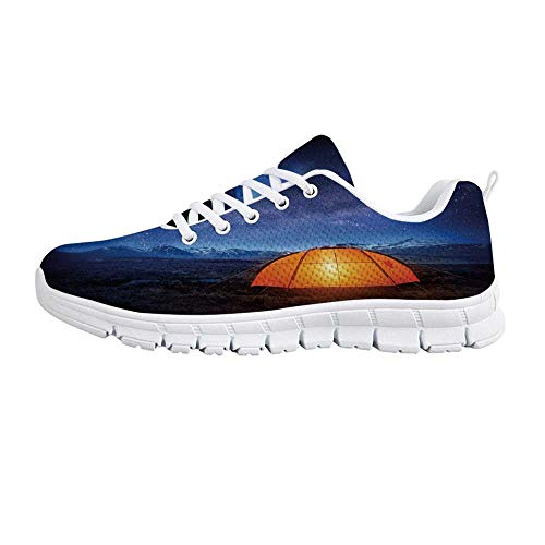 TecBillion Night Comfortable Sports Shoes,Camping Tent Under a Night Sky Full of Stars Holiday Adventure Exploring Outdoors for Men & Boys,US Size 8