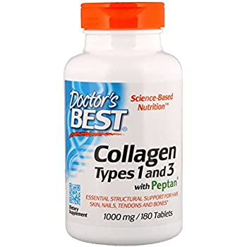 Doctors Best Collagen Types 1 and 3 with Peptan, Non-GMO, Gluten Free, Soy Free, Supports Hair, Skin, Nails, Tendons and Bones, 1000 mg, 180 Tablets