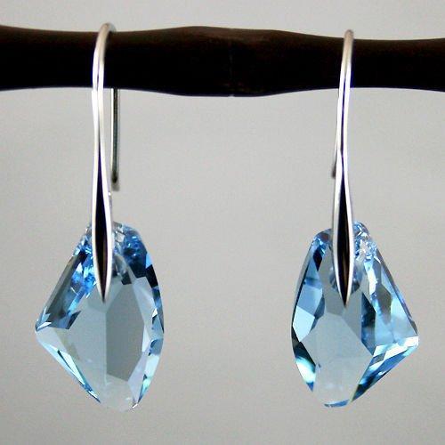 Element Princess Earrings (wanmanee Elegant Blue Crystal Aqua Drop Silver Genuine Earrings Gem Elements gift)