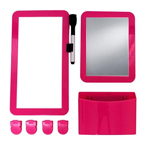 Inkology 8 Piece Magnetic Locker Set, Includes Utility Bin, Mirror, Dry Erase Board, Pink (237-6)