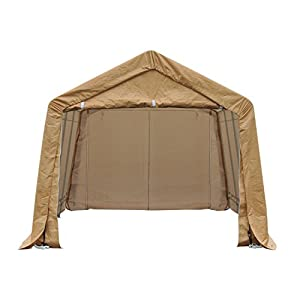 "Outsunny 17"" x 10.5"" Heavy Duty Enclosed Vehicle Shelter Carport - Beige"