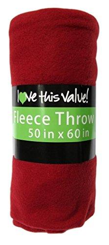 Imperial Home 50 x 60 Inch Soft Cozy Fleece Blanket/Fleece Throw - Red