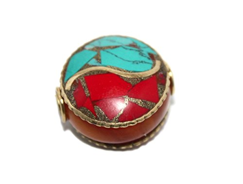 (Handmade Nepalese Turquoise Coral Amber Beads)
