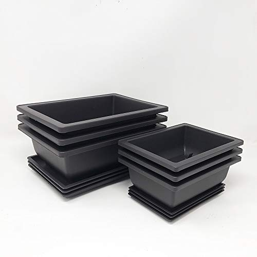 Bonsai Outlet Combo Pack of Professional Grade Plastic Training Pots - Three 6 Inch Pots with Humidity Trays & Three 8 Inch Pots with Humidity Trays