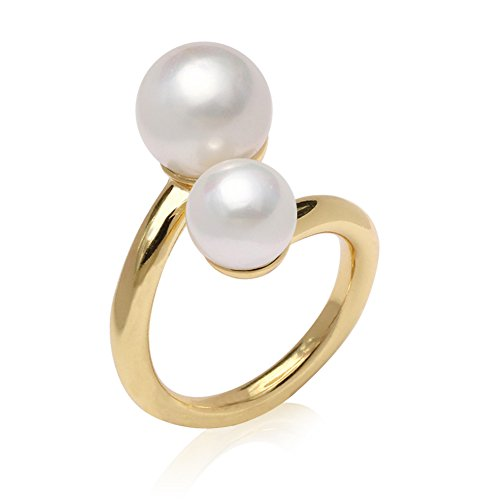 SHANLIHUA Simple Scarf Ring 2-Pearl Jewelry Scarf Buckle Gold Plating ()