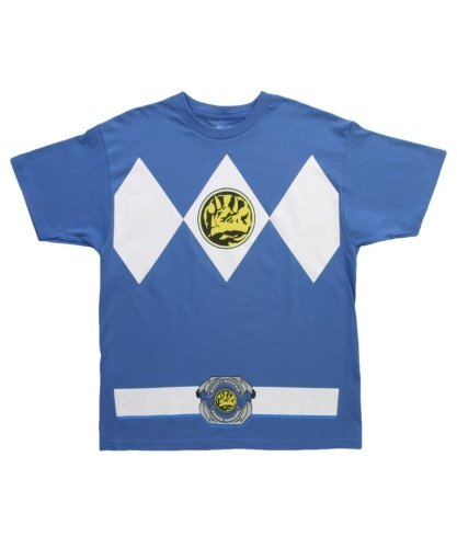 [Mighty Morphin Power Rangers Costume Men's T-shirt (Extra Large, Blue)] (Power Ranger Samurai Costumes)