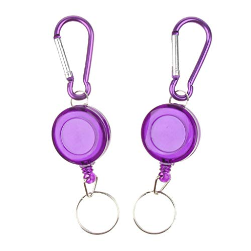 NATFUR 2pcs Durable Retractable Key Chain Ring Anti Lost Nylon Rope Buckle Purple Elegant Novelty Key-Chain for Women Cute for Men Holder for Gift Elegant Pretty