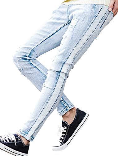 メンズ デニムパンツ ジーンズ ジーパン スキニー スリム ダメージ ストレッチ サイドライン リペア