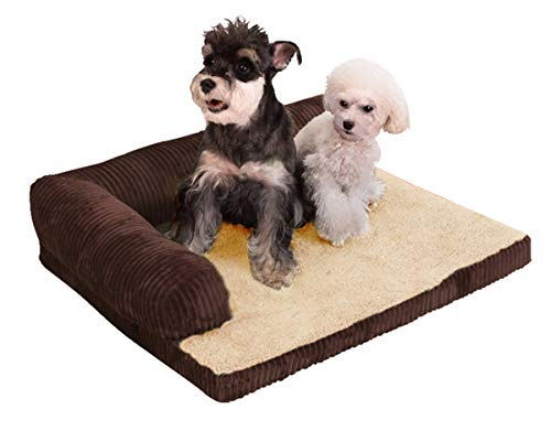 (PEACE NEST Pet Dog Bed Deluxe Chaise L-Shaped Lounge Pet Nest Pillow Orthopedic Plush Sofa-Style Couch Pet Kennel Pad Removable Washable Cover,Coffee,XL)