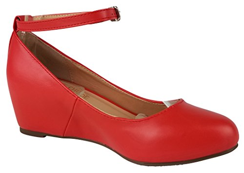 Chase & Chloe Femmes Strappy Mary Jane Wedge Plate-forme Pompe Rouge Pu