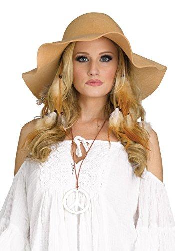 (Fun World Women's Adult 70's Floppy Hat, brown, Standard )