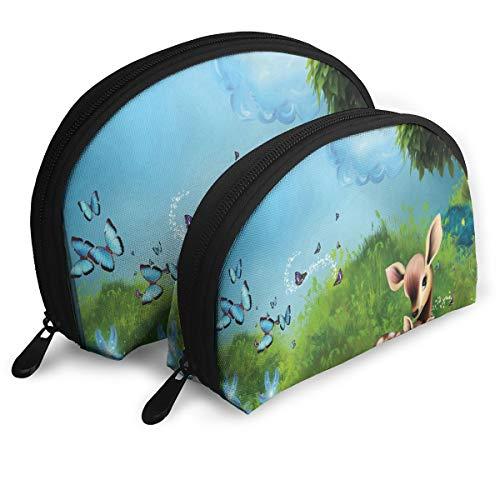 - Pouch Zipper Toiletry Organizer Travel Makeup Clutch Bag Twilight Crescent Moon Doe Grass Light Story Book Deer Portable Bags Clutch Pouch Storage Bags