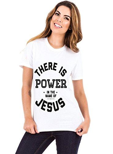 Living Water Women's Christian God T-Shirt Power in The Name of Jesus Tee-White -