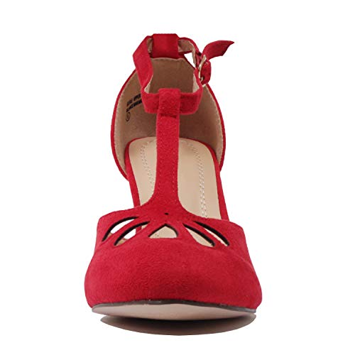 Red Guilty Sandal Suede Tstrap Dress Womens Cutout Pump Mid Comfortable Party Heel Heart Teardrop Retro OpUqOr