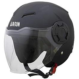 Steelbird Baron Open Face Helmet , ISI Certified Helmet (Matt Black with Clear Visor, Learge 600 MM)