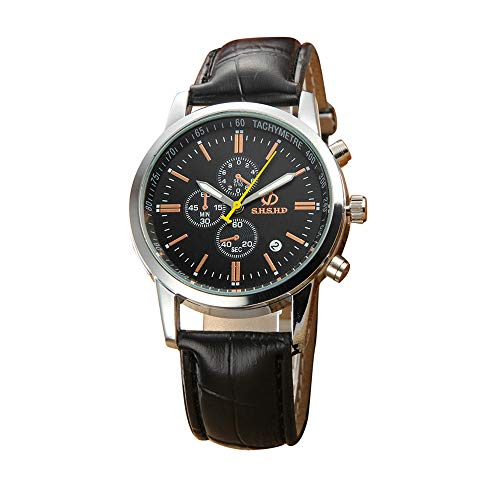 WoCoo Watches Luxury Men's Business Watch Analog Quartz Leather Large Dial Wrist Watch Gifts for Men(Black)