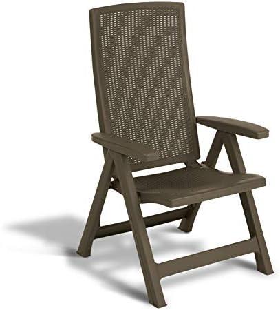 Keter - Silla reclinable de jardín exterior Montreal, Color marrón: Amazon.es: Jardín