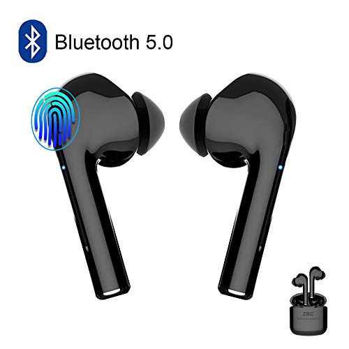 Wireless Earbuds Bluetooth 5.0 Headphone Touch Control in-Ear Wireless Earphone with Charging Case Microphone Noise Cancelling Deep Bass Waterproof Headset for Airpods Android iOS iPhone Samsung Black