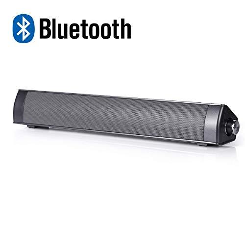TV Sound Bar,VICOODA Portable Mini Soundbar for TV, Stereo Bluetooth Wireless Speaker USB Powered, Surround SoundBar TV/Cellphone/Tablet 2.0 Chanel, 16 inch, 10W,Black (Sound bar)