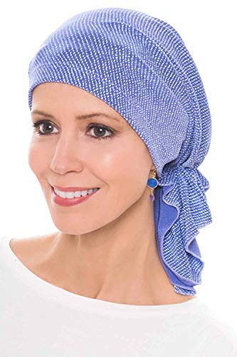 (Slip-On Slinky-Caps for Women with Chemo Cancer Hair Loss Lavender Dots)
