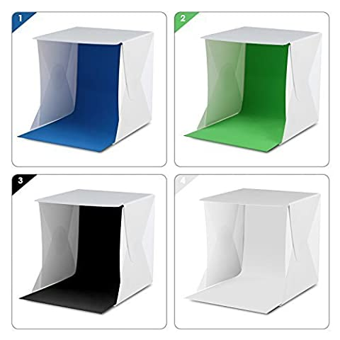 Amzdeal Light Tent Portable Light Box Photography Kit with Led Light (12 x 12 x 12 inches ) 4 Colors (Photo Product Studio)