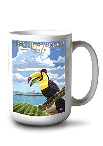 Lantern Press USS New Jersey - Panama Canal (15oz White Ceramic Mug)