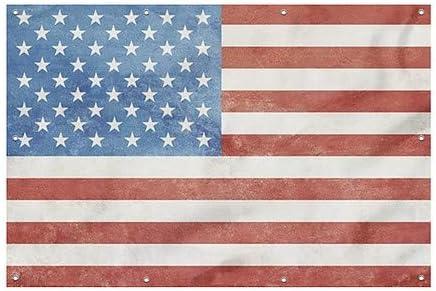9x6 Vintage Wind-Resistant Outdoor Mesh Vinyl Banner American Flag CGSignLab