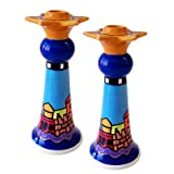 Ceramic Shabbat Candle Holders Sticks Jerusalem Skyline, By Nicole Engblom, 8'' T. Great Gift For: Bar Mitzvah Bat Mitzvah Rosh Hashanah Chanukah Wedding Shabbat Seder Night Passover Purim and Other Jewish Holiday