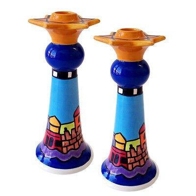 Ceramic Shabbat Candle Holders Sticks Jerusalem Skyline, By Nicole Engblom, 8