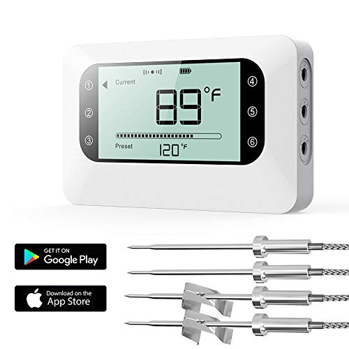 BFOUR Bluetooth Wireless Meat Thermometer for Grilling, Smoker BBQ Thermometer with 4 Probes, Upgrade Large Screen Smart Digital Meat Thermometer, for Grill Smoker BBQ Kitchen and Oven