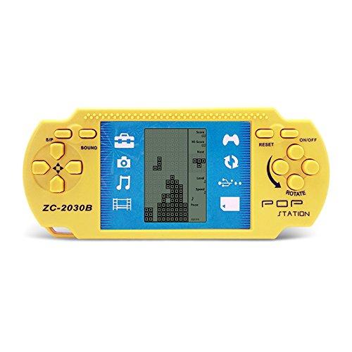 JXD Yellow Retro Portable Tetris Handheld Built-in 23 Games Tetris Kids Electronic Brick Games
