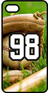 Baseball Sports Fan Player Number 98 Smoke Rubber Decorative iPhone 5/5s Case
