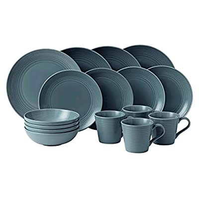Royal Doulton 40003015 Gordon Ramsay Maze 16-Piece Dinner Set, Grey - Dishwasher Safe Material: Stoneware Maze by Gordon Ramsay - kitchen-tabletop, kitchen-dining-room, dinnerware-sets - 415KZ7J9 bL. SS400  -