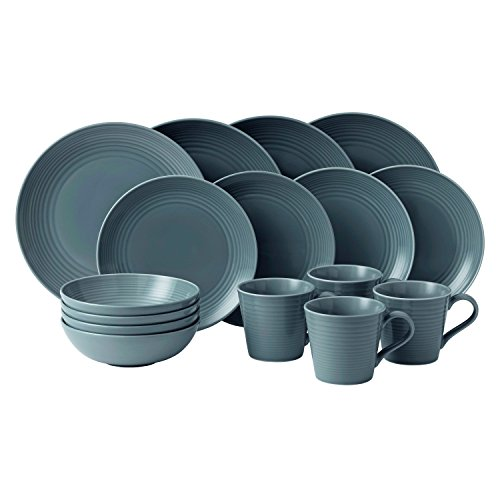 Royal Doulton 40003015 Gordon Ramsay Maze 16-Piece Dinner Set, Grey (Royal Doulton Dinner Sets)