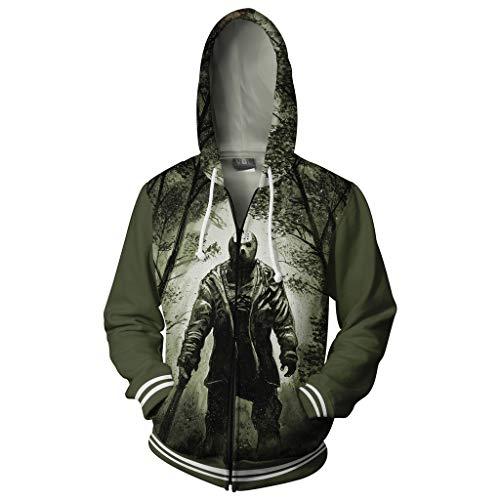 Boomtrader Men's 3D Printing Crystal Lake Jason Voorhees Adult Zip up Hoodie Sweatshirt Cosplay Costume (XL, As Shown)