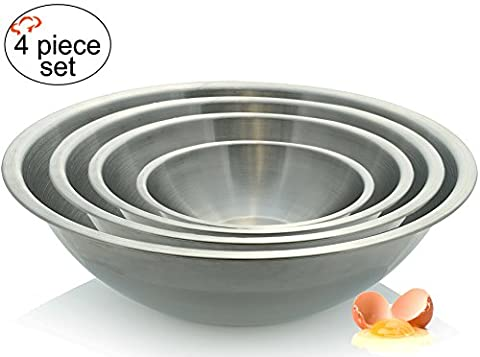 Tiger Chef Large Stainless Steel Mixing Bowls Standard Weight, Mirror Finish, 13, 16, 20, and 30 Quart