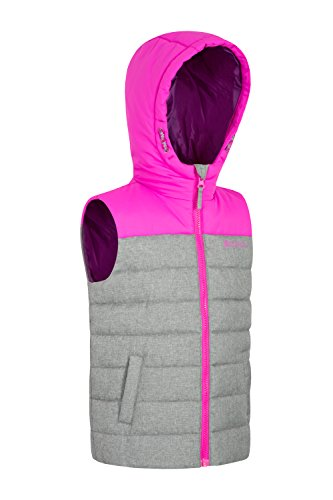 Mountain Warehouse Jacket Childrens Warmer Rain Resistant Water Gilet for Body Kids Padded Rocko Adjustable Textured Hoodie Travelling Spring Pink Filler Microfibre rqCwrd