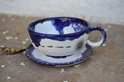 Royal Blue Silver and White Lotus Flower Tea or Espresso Cup, handmade ceramic small mug