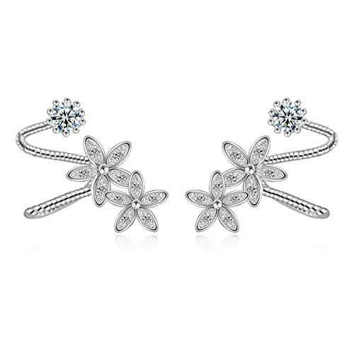 Orris Sterling Silver Flower&Diamond Style Ear Cuff Wrap Clip Stud Set Earring (For Pierced Ear) (Band Cuff Earrings)