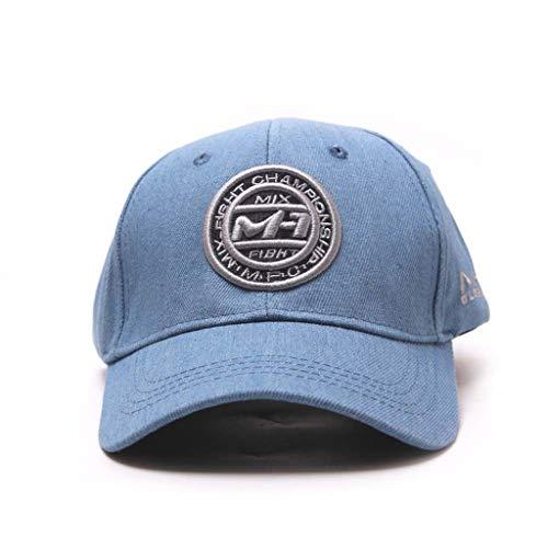 AcisuHu Outdoor Women Men Embroidered Flower Fishing Cap Adjustable Denim Fashion Baseball Cap Topee (Light blue, One)