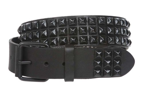 Leather 3 Pyramid Studded Belt - 8