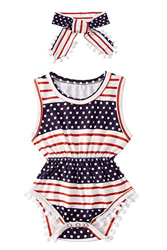 Toddler Girl Funny Snap Buttons Bodysuits Tropical Hawaii Print Red Striped Navy Blue White Polk Dots Ribbed Jumpsuits for Newborns Girls with Headband for Formal Gift Costume 12-18 Months ()