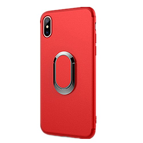 Iphone X Case With 360 Rotating Ring Grip Holder Stand Car Bracket Iphone Shell Ring Suction Matte Phone Case For Apple Iphone X 5 8  2017  Iphone X  Red