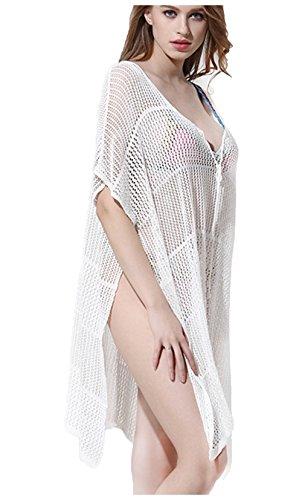 Wander Ago Beach Club Perspective Cover Ups Shirts Bikini Cover-up V-neck Stripe White