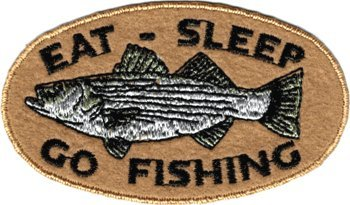 Eat, Sleep, Go Fishing - Oval Logo With Striped Bass Fish - Embroidered Iron On Or Sew On Patch